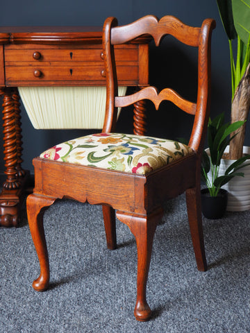 Antique 19th Century Oak Side Chair with Tapestry Upholstered Seat - erfmann-vintage