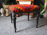 Antique Late 19th Century Edonised Stool with Kilm Upholstery - erfmann-vintage