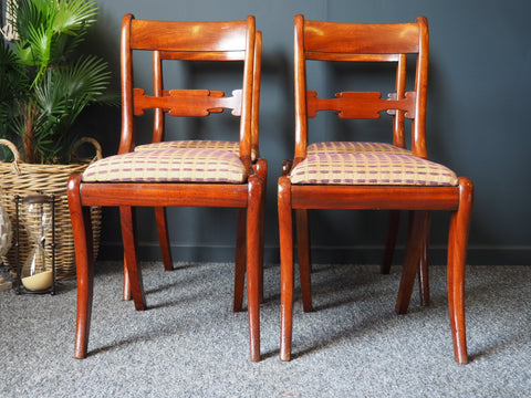Antique Regency Mahogany Dining Chairs - Set of Four - erfmann-vintage