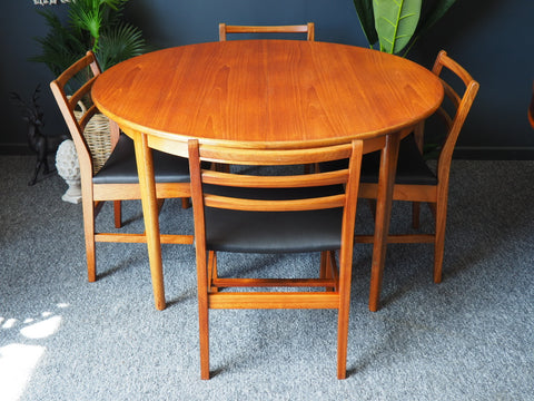 Mid Century Extending Teak Dining Table & Four Chairs A&FH Furniture - erfmann-vintage