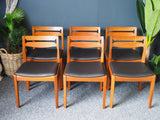 Mid Century Danish Dining Chairs x 6 Teak & New Padded Vinyl