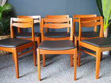 Mid Century Danish Dining Chairs x 6 Teak & New Padded Vinly