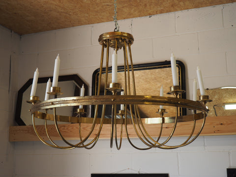 Early 20th Century Gilded Brass Chandelier Lighting - erfmann-vintage