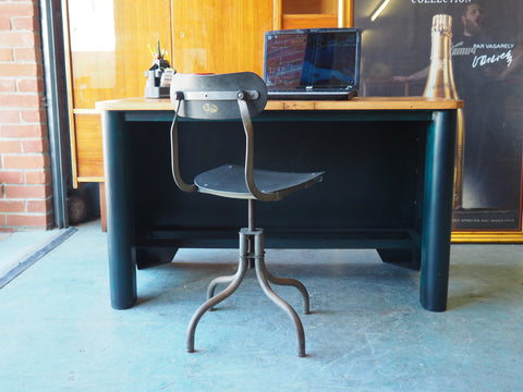 Industrial Style Desk Table Solid Shop Display Bespoke One of a Kind! - erfmann-vintage