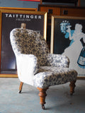 Country Chic Button Back Arm/Occasional Chair Reupholstered Blue & White Floral Pattern - erfmann-vintage