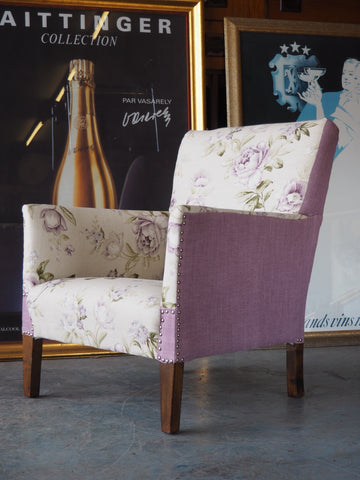 Country Chic Reupholstered Floral Armchair - erfmann-vintage