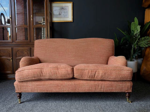 Victorian Style Laura Ashley Style Low Elegant Two Seater Sofa on brass Castors
