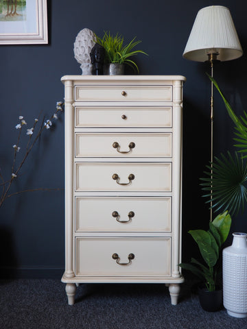 Laura Ashley Tall Chest of Drawers Clifton Range in Cream/Ivory