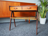 Danish Teak & Rattan Telephone/Side Table by Kai Kristiansen - Mid Century Modern 1950's - erfmann-vintage