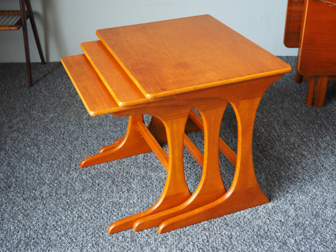 Mid Century G Plan Teak Nested Tables with Sculptural & Ergonomic Legs - erfmann-vintage