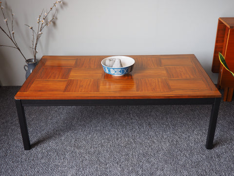 Mid Century Norwegian Rosewood Coffee Table with Tile Effect Top - erfmann-vintage