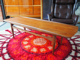 Mid Century Danish Grete Jalk 1950 Surfboard Style Teak Coffee Table - erfmann-vintage