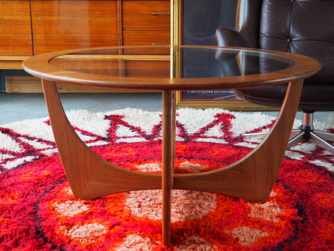 Danish Mid Century Teak Circular Coffee Table with Glass Top - erfmann-vintage