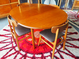 Mid Century Retro Extending Teak Dining Table & Four Chairs - erfmann-vintage