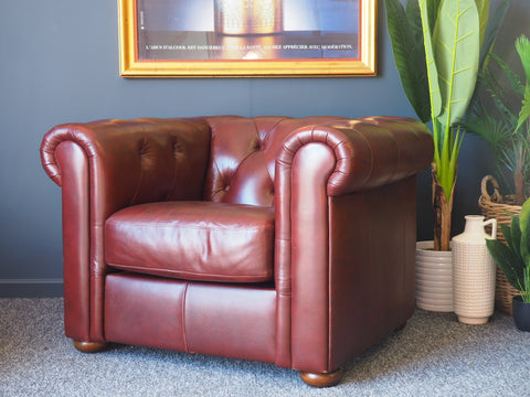 Traditional Oxblood Chesterfield Style Armchair Lounge Chair