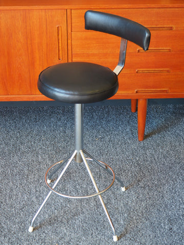 Industrial Chic Machinists Factory Stool Restored Padded Black Vinyl