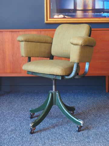 Mid Century Vintage 1950s Tan Sad Office Swivel Chair Re-upholstered