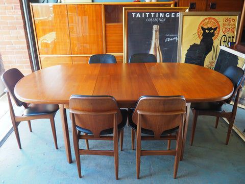 Mid Century Stunning G Plan Dining Table & Six Chairs in Teak with Black Vinyl - erfmann-vintage