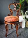 Antique Victorian Walnut Revolving Music Stool with Rising Spindle