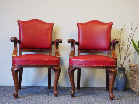 Victorian Oak & Red leather Armchairs/ Occasional Chairs - erfmann-vintage