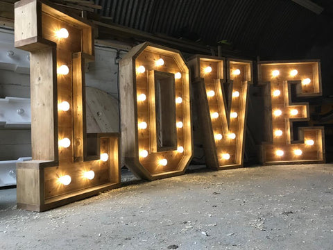 L.O.V.E. Letters Lighting Decoration Handmade Retro Rustic - erfmann-vintage
