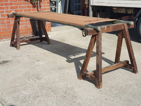 Mid Century 1950s Army Stretcher & Supporting Trestles