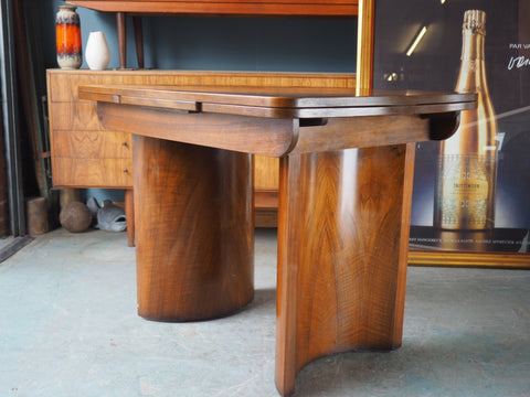 Art Deco Extending Dining Table Walnut Desk - erfmann-vintage