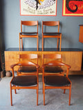 SET OF 6 HONG STOLEFABRIK Dining CHAIRS IN TEAK, designed by ERIK KIRKEGAARD - 1950S - erfmann-vintage