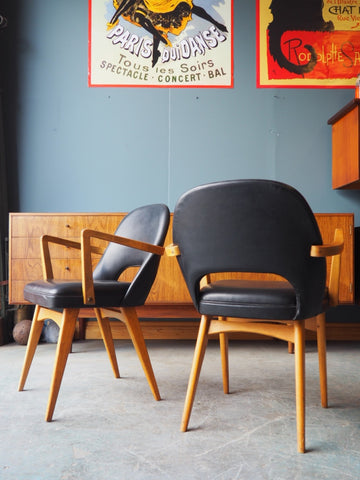 Vintage Retro Six Beech & Black Vinyl Chairs Occasional or Dining - erfmann-vintage