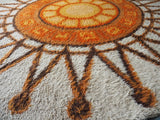 Vintage Retro Circular Orange & Cream Sun Burst Patterned Shag Pile Rug 1960s - erfmann-vintage