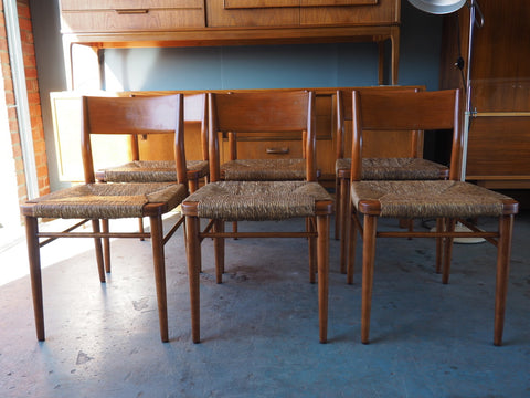 Danish 1950s Georg Leowald 6 Sycamore Barback Dining Chairs - erfmann-vintage