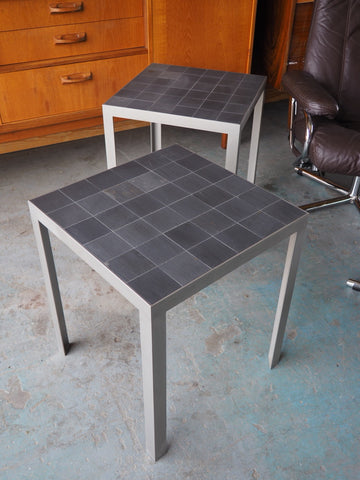 Two Modern Danish Rubner.dk Coffee/Side Tables Slate & Stainless Steel - erfmann-vintage