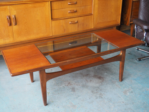 Mid Century VB Wilkins G-Plan Coffee Table Teak with Glass Top & Magazine Shelf - erfmann-vintage