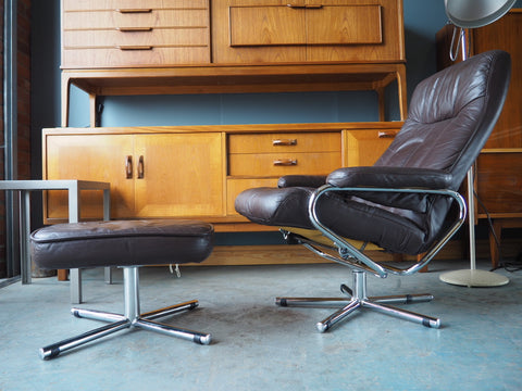 Scandinavian Mid Century Brown Leather Swivel/Reclining Chair & Footstool From Skoghaug Industri - erfmann-vintage