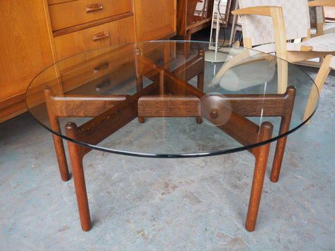 Mid Century Danish Rosewood & Glass Topped Circular Coffee Table - erfmann-vintage