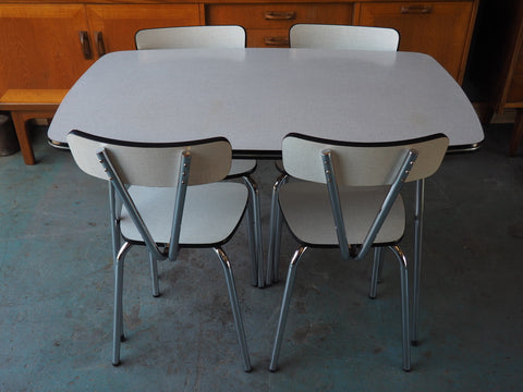 Vintage 1960s Kitchenette Dining Set Table & Four Chairs in Chrome & White Formica - erfmann-vintage