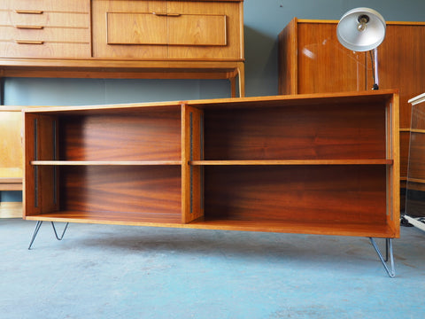 Vintage Retro Bookcase Sideboard on Hairpin Legs in Teak - erfmann-vintage