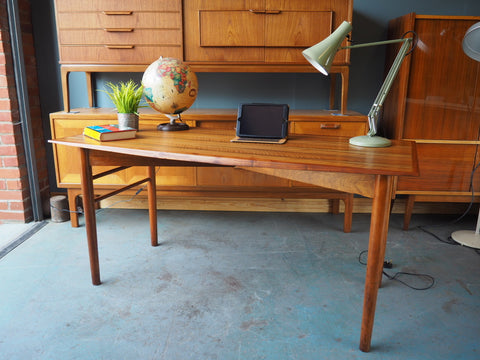 Mid Century Rosewood Table Desk Scandinavian Modernist - erfmann-vintage