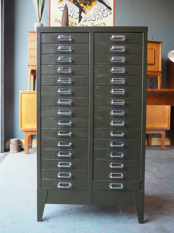 Industrial Chic Double Green Metal Filing Cabinet - erfmann-vintage