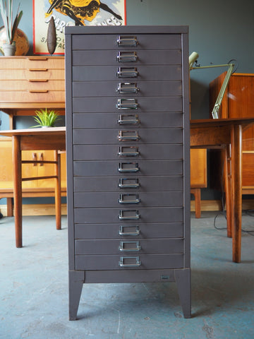 Industrial Chic Single Grey Metal Filing Cabinet - erfmann-vintage