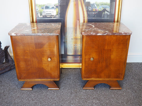 Pair of Art Deco Bedside Cabinets Oak Base & Marble Tops - erfmann-vintage