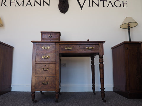Stunning Burr Walnut Victorian Desk, Leather Top, Brass Handles - erfmann-vintage