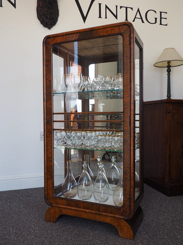 Art Deco Mahogany Glass Display Cabinet 1920s - erfmann-vintage
