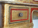 Oriental Style Chinese Desk Side/Console Table Gold & Red Ornate Detailing - erfmann-vintage