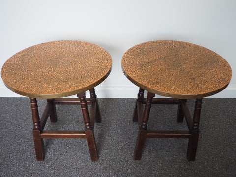 Vintage Retro Pair of Copper Topped Pub/Restaurant Side Tables - erfmann-vintage
