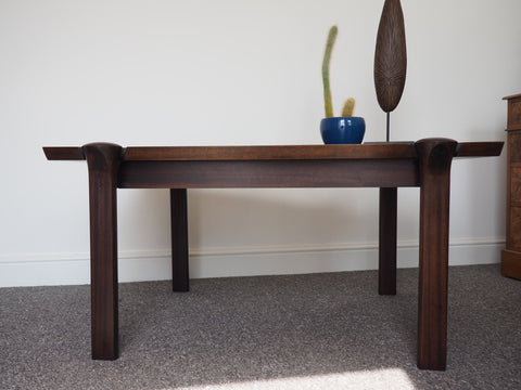 Mid Century Danish 1960s Rosewood Coffee Table By Cado With Circular Legs - erfmann-vintage