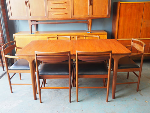 Mid Century McIntosh Dining Table & 6 Chairs Black Vinyl - erfmann-vintage