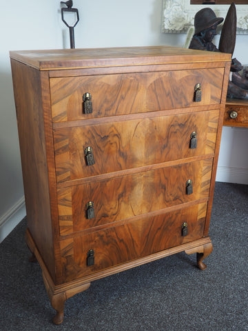 Edwardian Walnut Chest of Drawers Inlaid Front Book Matched Top - erfmann-vintage