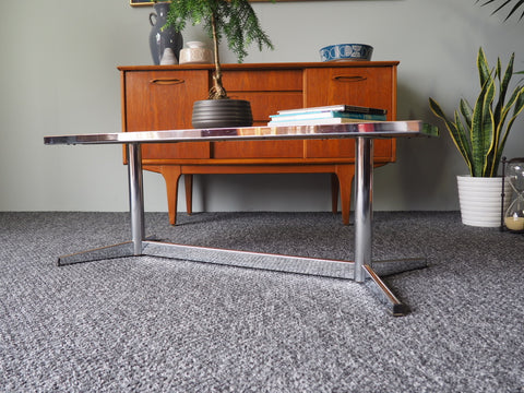 Vintage Retro 1970s Chrome Tiled Coffee Table - erfmann-vintage