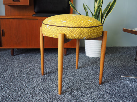 Mid Century Atomic Style Stool Recovered & Re-padded German Brand - erfmann-vintage